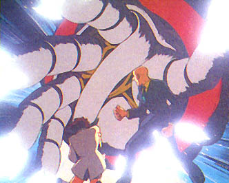 Giant Robo's enormous hand looks menacing enough, but he is only trying to rescue Daisaku, who is behind a forcefield (hence the lights on Robo's fingertips).