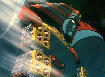 Robo races to Daisaku's rescue.  Those warheads aren't just for show!